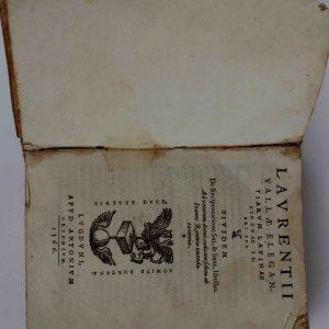 LAVRENTII VALLAE ELEGANTIARUM LATINAE, Libri Sex. 1566- interior