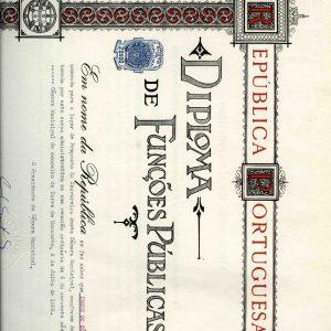 Diploma de Funções Públicas deIrene do Céu Dias, 1965