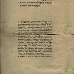 Explicações ao publico a proposito d`um Projecto..., 4 de Junho de 1898, 6 páginas