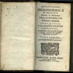 INSTITUTIONES PHILOSOPHICAE, Tomus tertius, MDCCXXIV
