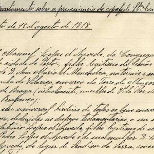 Apontamento sobre capela, completo, 1818. 1 folha