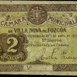 Cédula de 2 centavos, ( Vila Nova de Foz Côa)