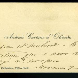 Cartão de Visita de António Caetano d`Oliveira