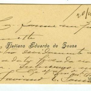 Cartão de Visita de Flaviano Eduardo de Sousa, 1908
