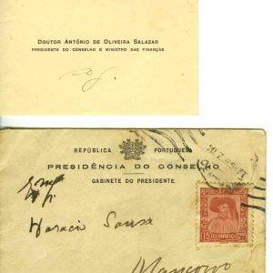 Cartão de visita do Doutor Oliveira Salazar para o Dr. Horácio de Sousa