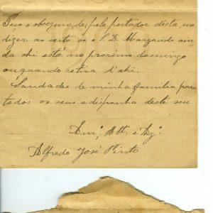 Carta de Alfredo José Pinto, Carviçais, 1908, para Flaviano De Sousa, Moncorvo