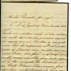 Carta para D. Lucinda lucia d`Oliveira, 1878