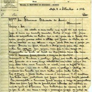 Carta para Flaviano  Eduardo de Sousa, Negociante, Moncorvo, 1932