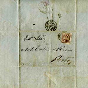 Carta selada endereçada a António Caetano de Oliveira, 1883 , Porto