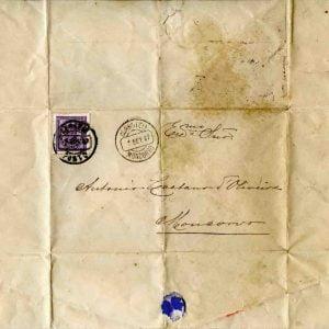 Carta selada endereçada a António Caetano de Oliveira, 1887