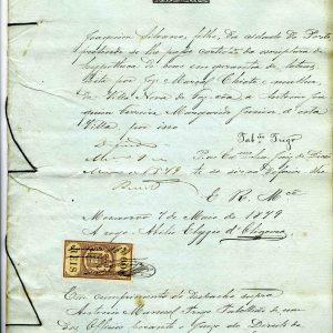 Escritura de Hypoteca de bens em garantia de letras , José Marçal Chiote a António Joaquim Ferreira Margarido Junior, 1879, 8 folhas