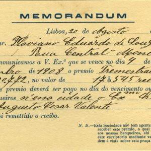 Memorandum, Flaviano Eduardo de Sousa, Moncorvo