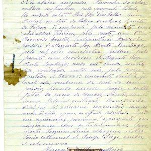 Venda de um pinhal pela Visconde do Marmeleiro ao dr. João José Dias Gallas, 1883, 3 folhas e contribuição de Reisto por título oneroso